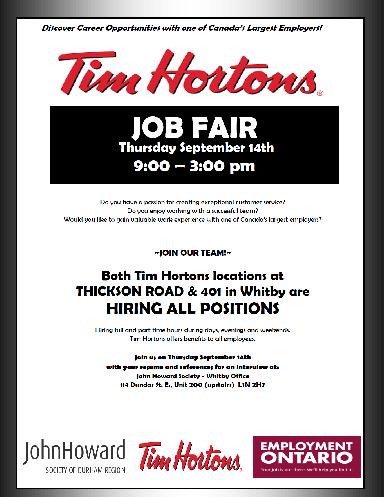 News jhs employment services page 2 tim hortons job fair two locations are hiring join us at john howard society of durham region whitby 114 dundas street east suite 200 from 9am till 3pm falaconquin